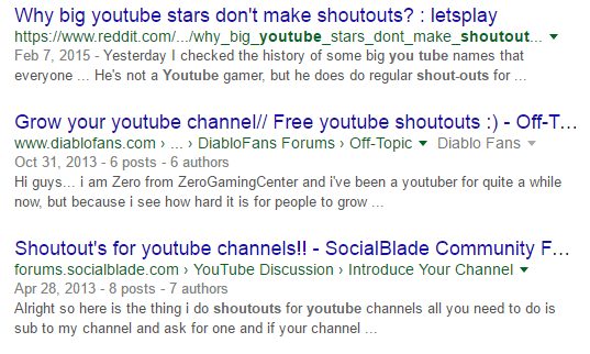 YouTube Shoutouts
