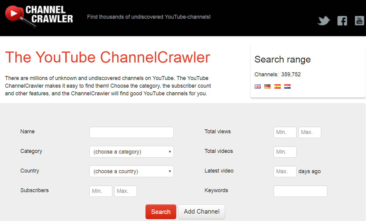 Find YouTube Channels with Channel Crawler