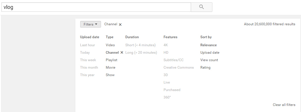 Pesquisa do canal do YouTube